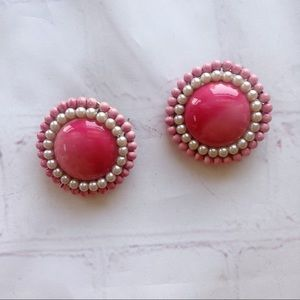 Vintage pink round bead and pearl clip on earrings